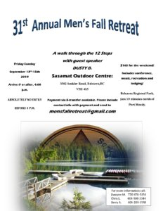 Men's Fall Retreat  2019 - Greater Vancouver Intergroup